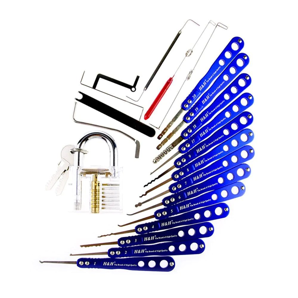 medium resolution of  h h 20 in 1 lock picks set transparent practice padlock bundle
