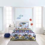 Dream Factory Trains And Trucks 5 Piece Comforter Set Boys Blue Twin Mainly Bedding