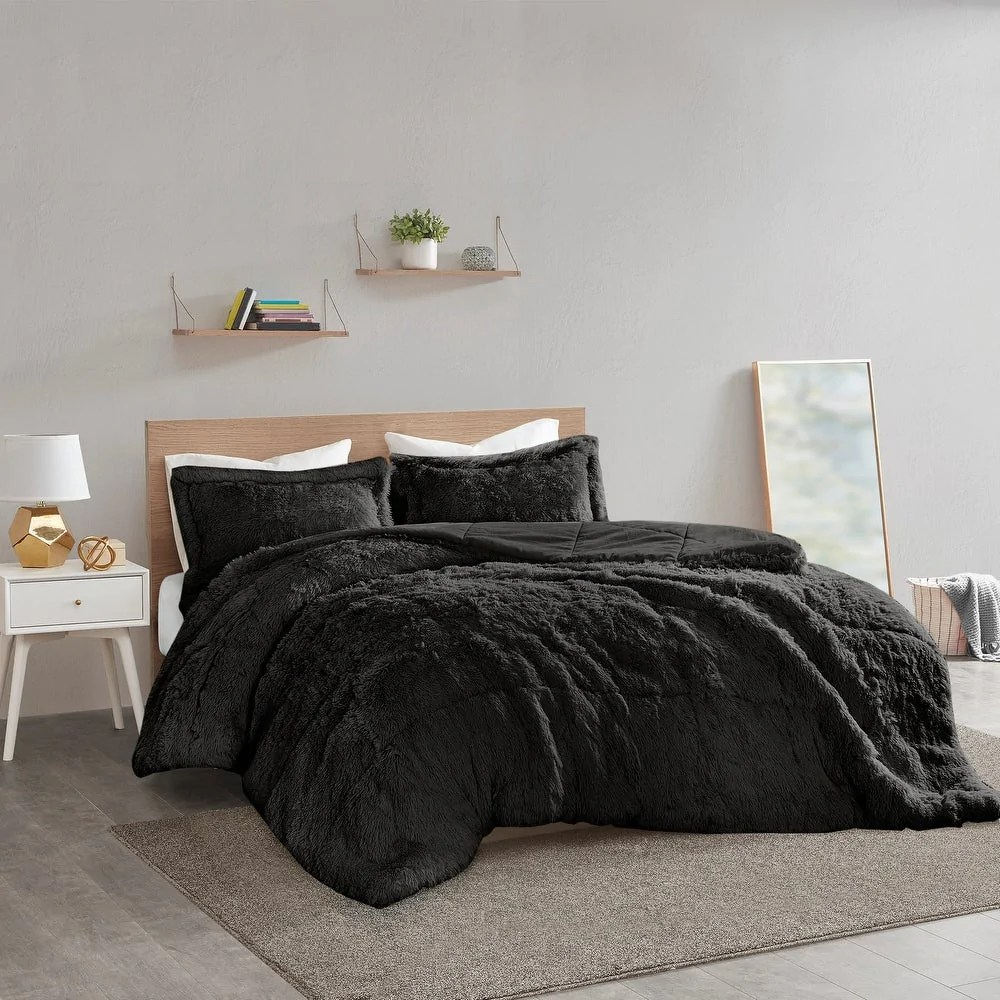 malea soft plush shaggy faux fur comforter set