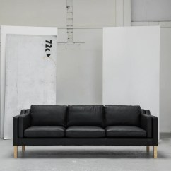 3 Seater Sofa Black Leather Sealable Storage Bag Olsen Edito Furniture Modern With Wooden Legs At