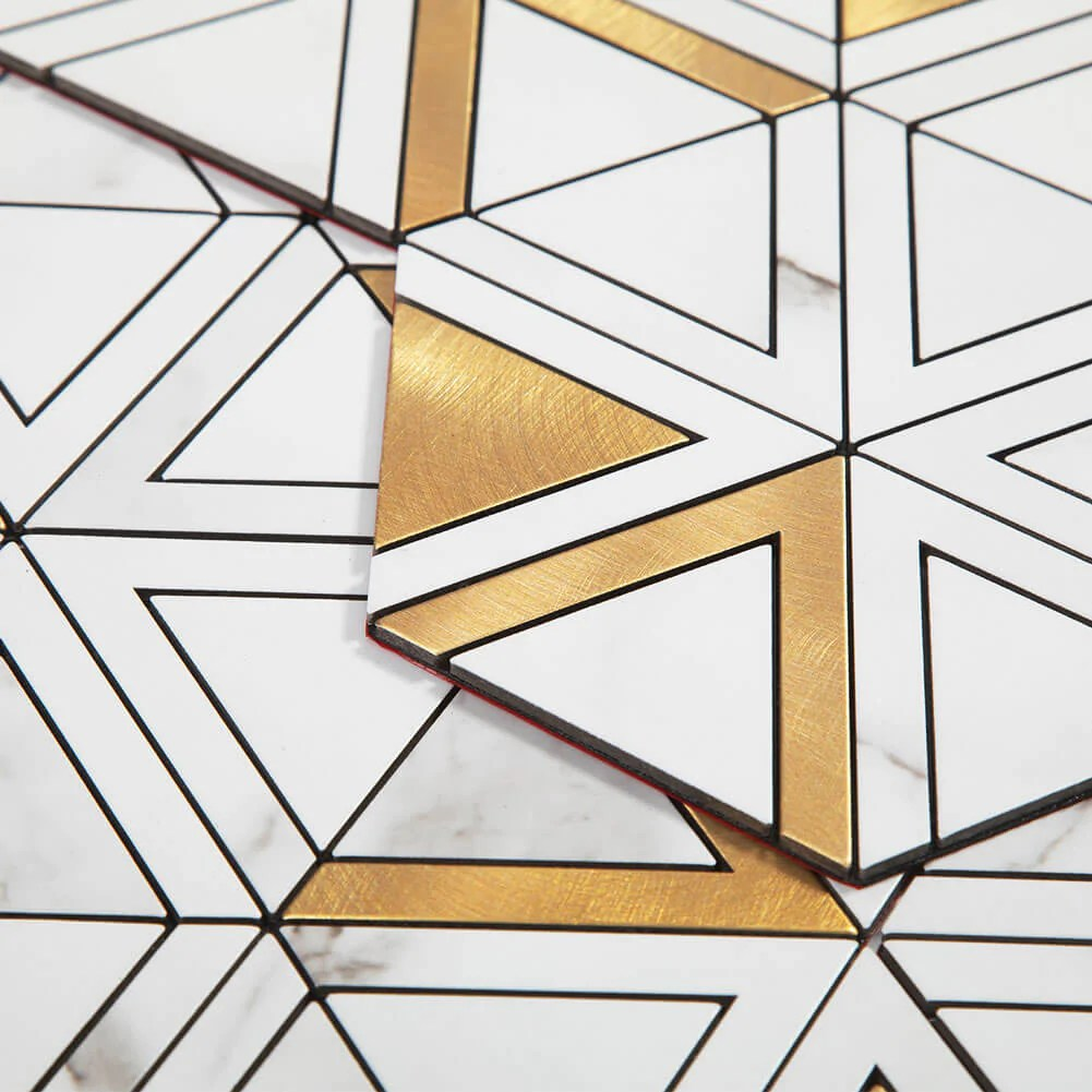 peel and stick tile backsplash pvc white marble stone with gold metal triangle tile 5 pack