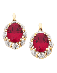 Ruby Earrings - Yellow Gold Ruby and Diamond Earrings ...