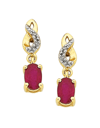 Ruby Earrings - Yellow Gold Ruby & Diamond Earrings ...