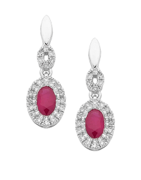 Ruby Earrings - White Gold Ruby & Diamond Earrings ...