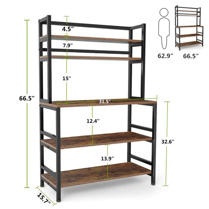 tribesigns 5 tier kitchen bakers rack with hutch
