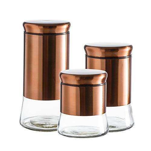 3 piece glass kitchen canisters set with bronze stainless steel lid