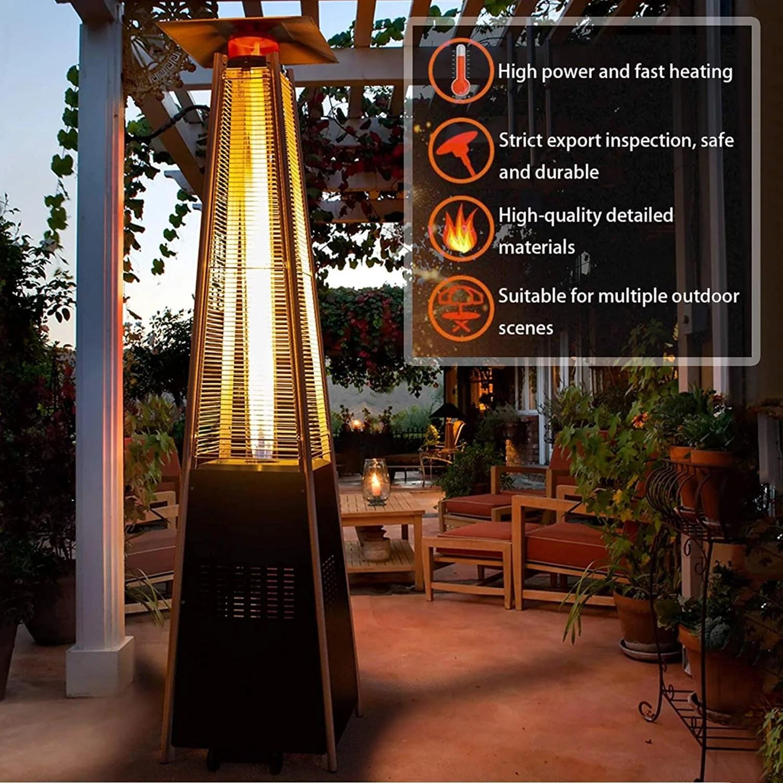jingou patio heater 48000 btu quartz glass pyramid tube outdoor heater liquid gas propane heater adjustable thermostat camping