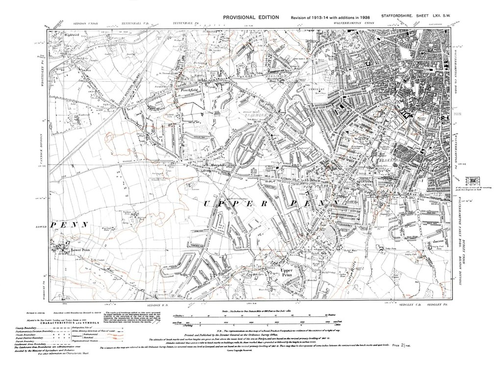 Old map of Wolverhampton SW Upper Penn Staffordshire