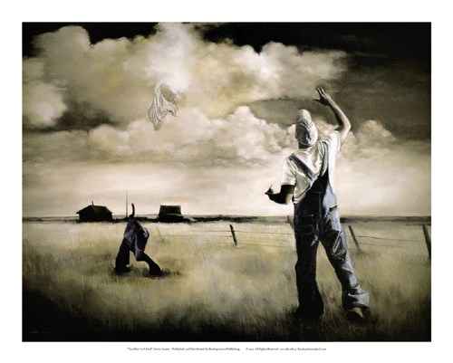 Two Men In A Field 25x31 Print Edwin Lester Its A