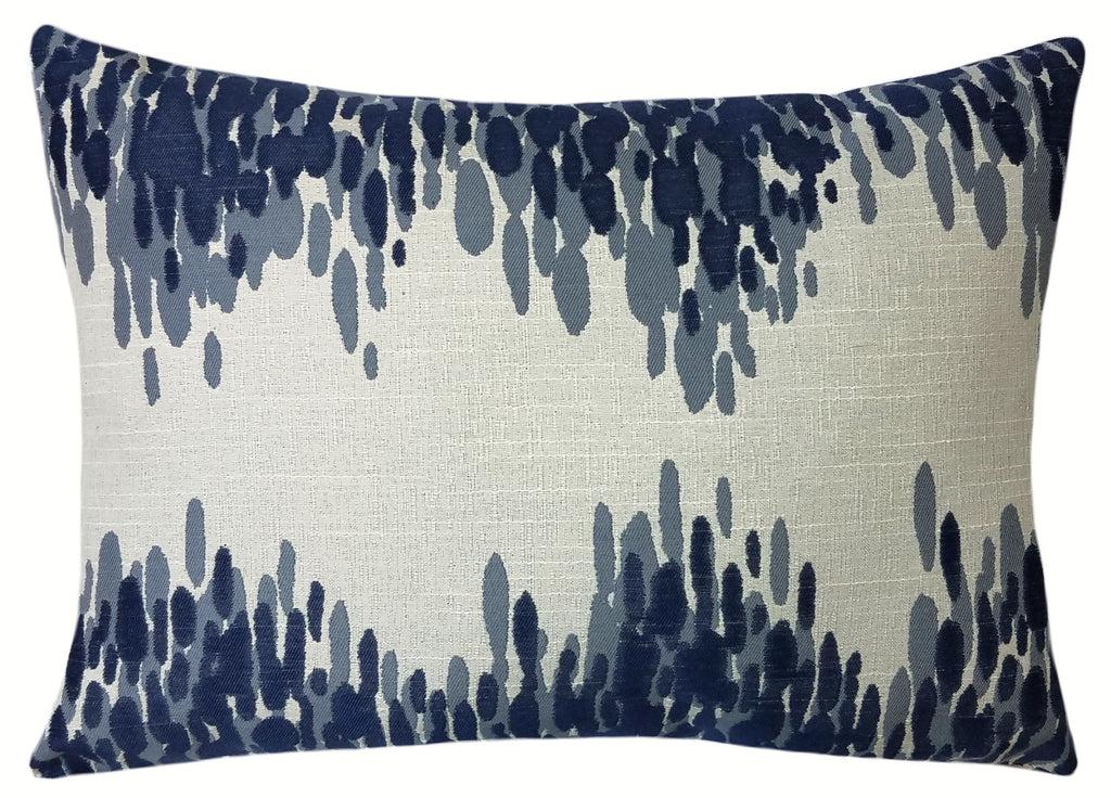 Navy Blue Splatter Throw Pillow Contemporary Home Accents Sky Iris