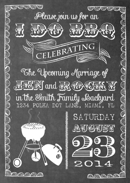 Chalkboard BBQ Party Printed Invitation 0224  The Polka