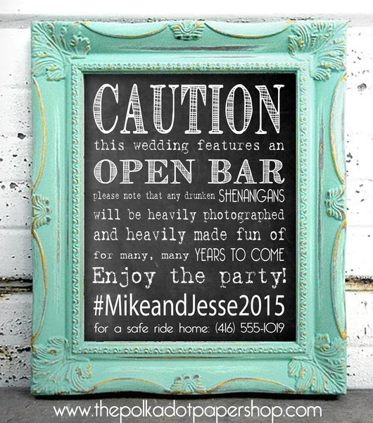 Caution Open Bar Funny DIY WeddingParty Sign Hashtag Sign Chalkbo  The Polka Dot Paper Shop