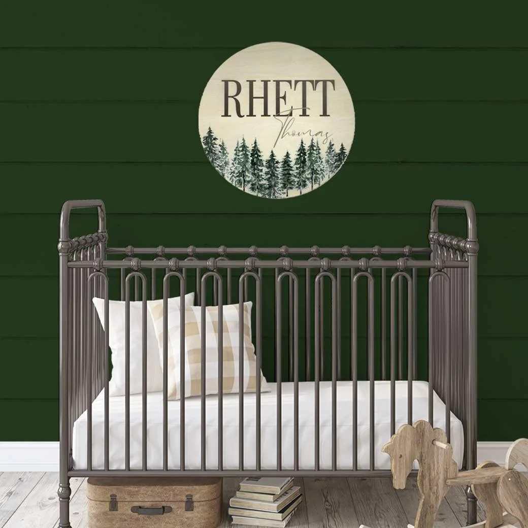 With a tranquil blue hue and an enchanted forest scene, this beautiful wallpaper creates a chic space. Woodland Forest Nursery Name Sign Birchmark Designs