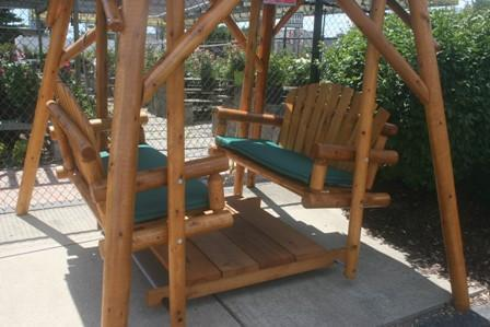 outdoor double glider swing set