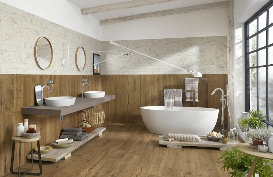 use wood effect tiles on your walls