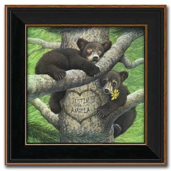Living Room Country Decor Photos Of Rooms With Grey Couches Personalized Black Bear Cubs Art Print On Canvas ...