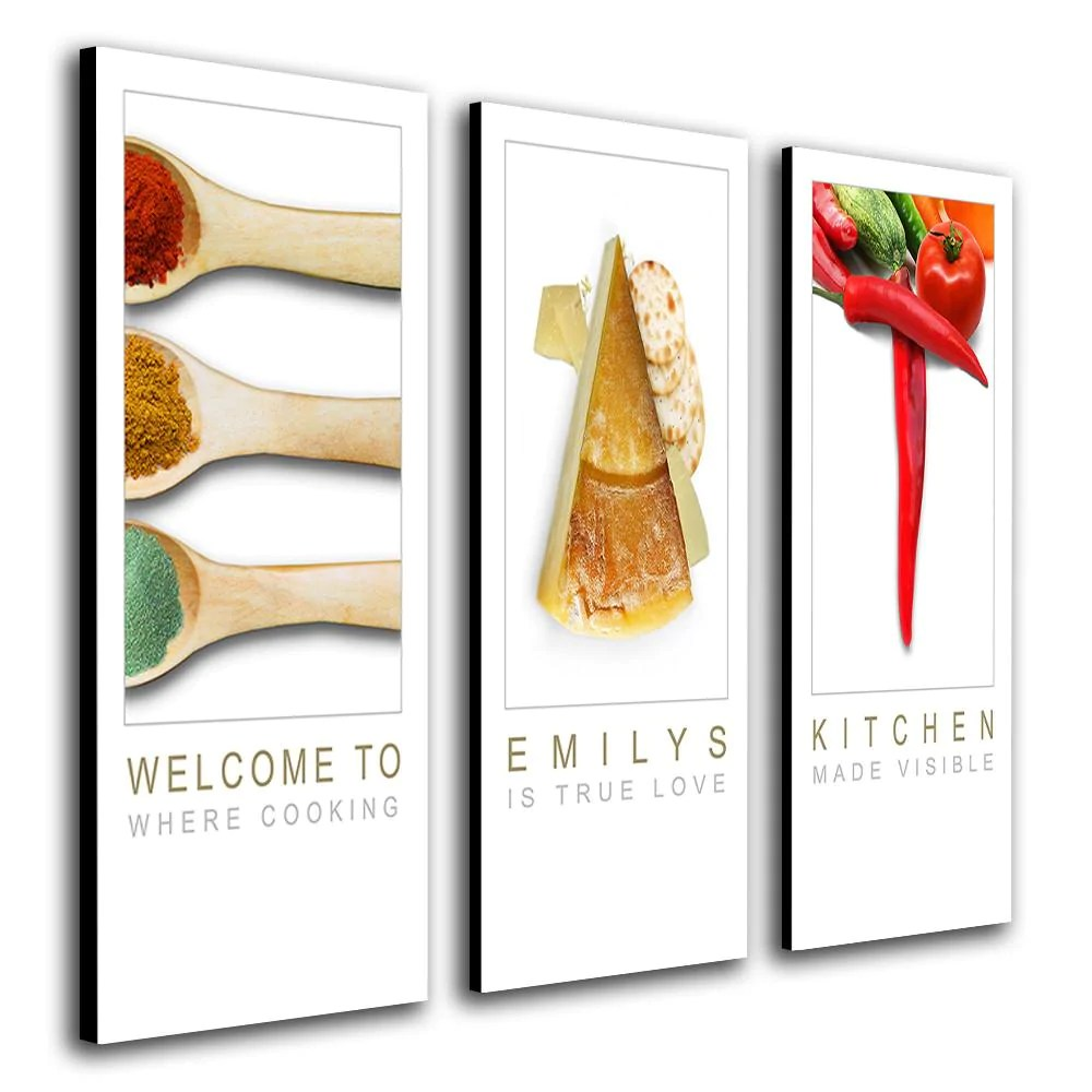art for the kitchen tall tables wall canvas home personalized personal thee pieces of with images food to spell word eat