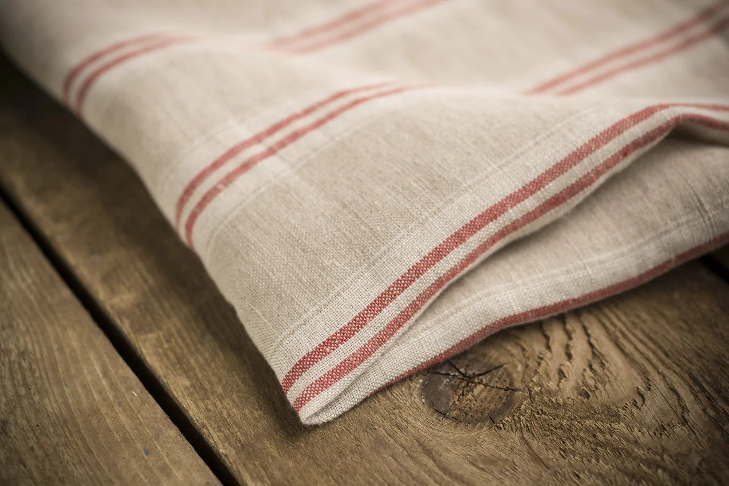Linen Fabric with Red Stripes