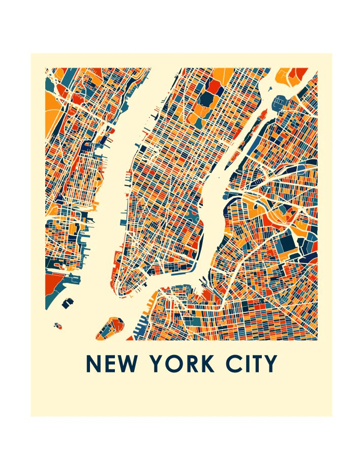 New York City Map Poster : poster, Print, Color, Poster, ILikeMaps