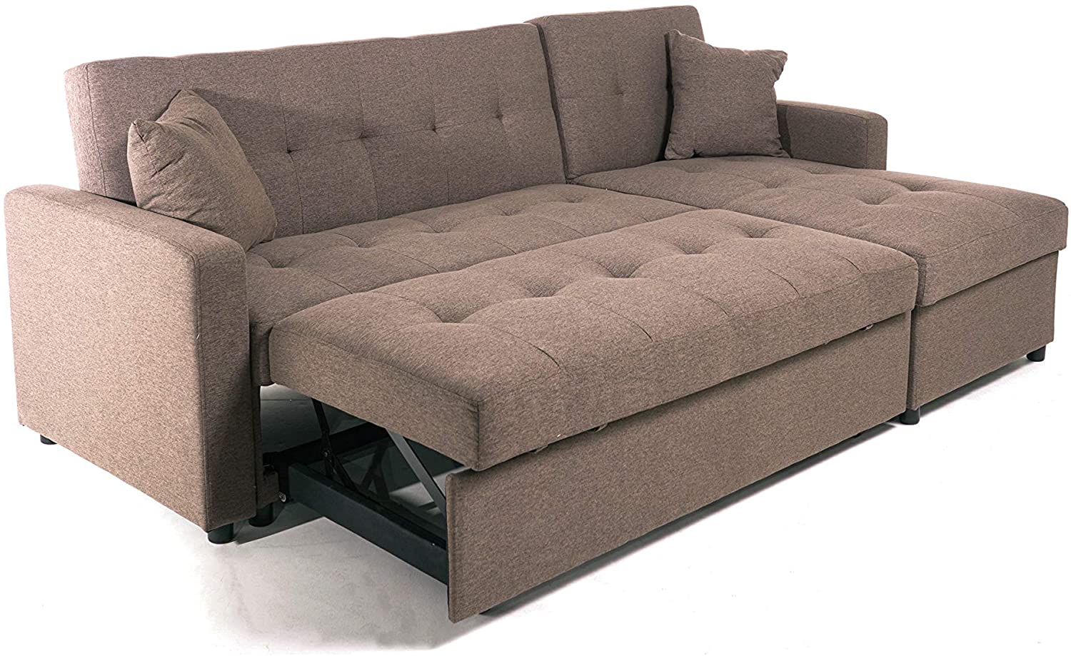 hinton l shaped corner sofa bed with hidden storage and reversible chaise versatile lh or rh orientation in brown