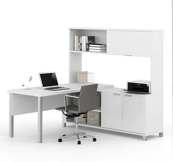 Premium Modern Lshaped Desk with Hutch in White