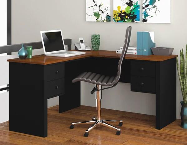 Somerville 4Drawer Lshaped Office Desk in Tuscany Brown