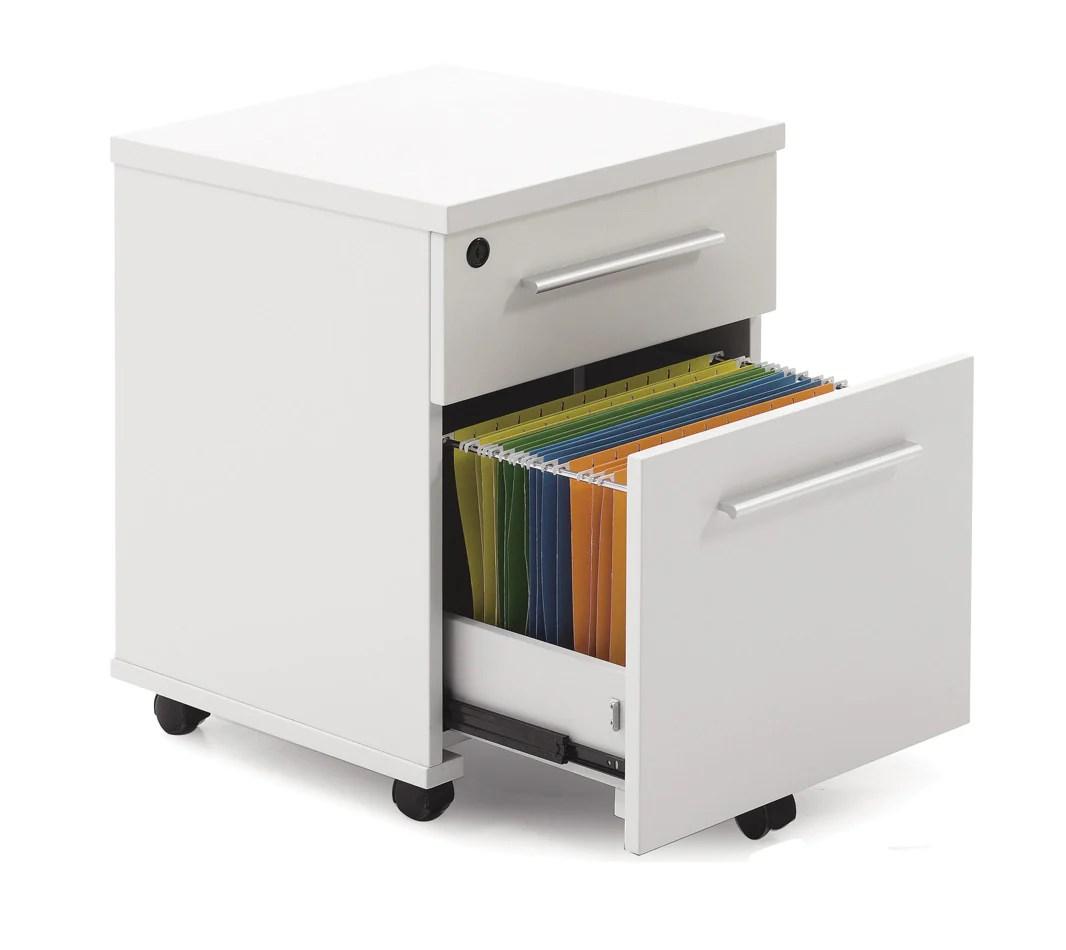 White Lacquer Chrome Locking Mobile File Cabinet
