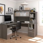 L Shaped Office Desk And Hutch With Frosted Glass Doors In Bark Gray Computerdesk Com