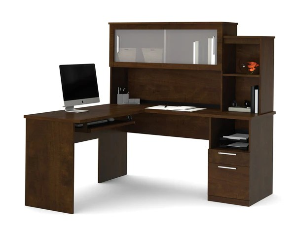 Chocolate Lshaped Corner Office Desk and Hutch with
