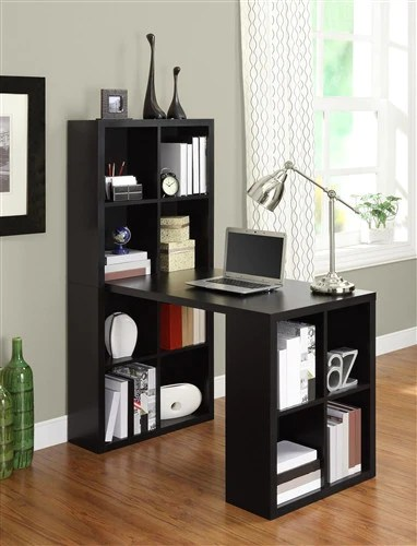 Black Desk  Bookcase Combination with Maximum Storage and