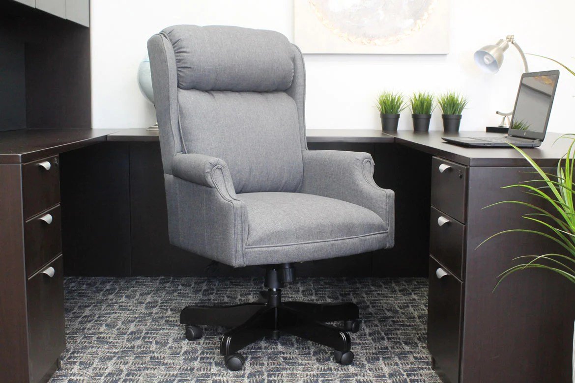 Linen Office Chair Gorgeous Executive Slate Grey Linen Office Chair