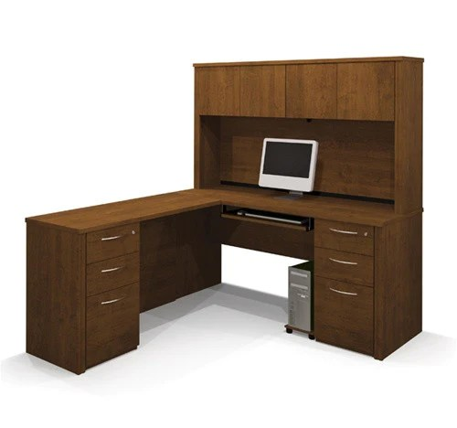 L Shaped Workstation With Hutch In Cappuccino Cherry Or