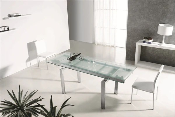 Modern Extendable Frosted Glass  Chrome Executive Desk or