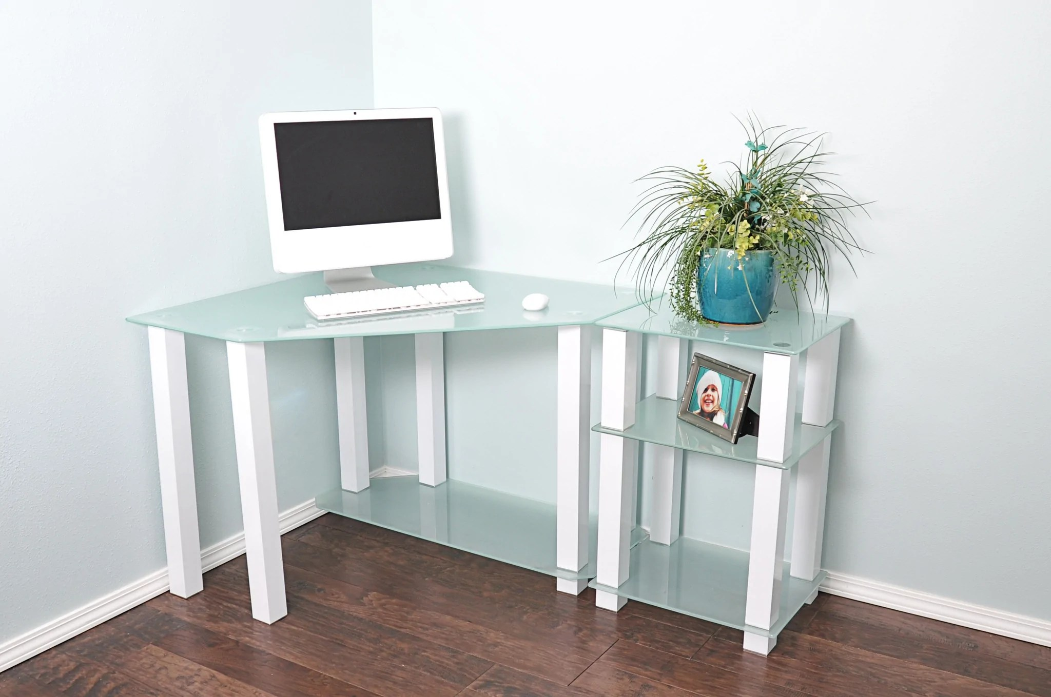 Modern White Glass Corner Desk with 20 Extension