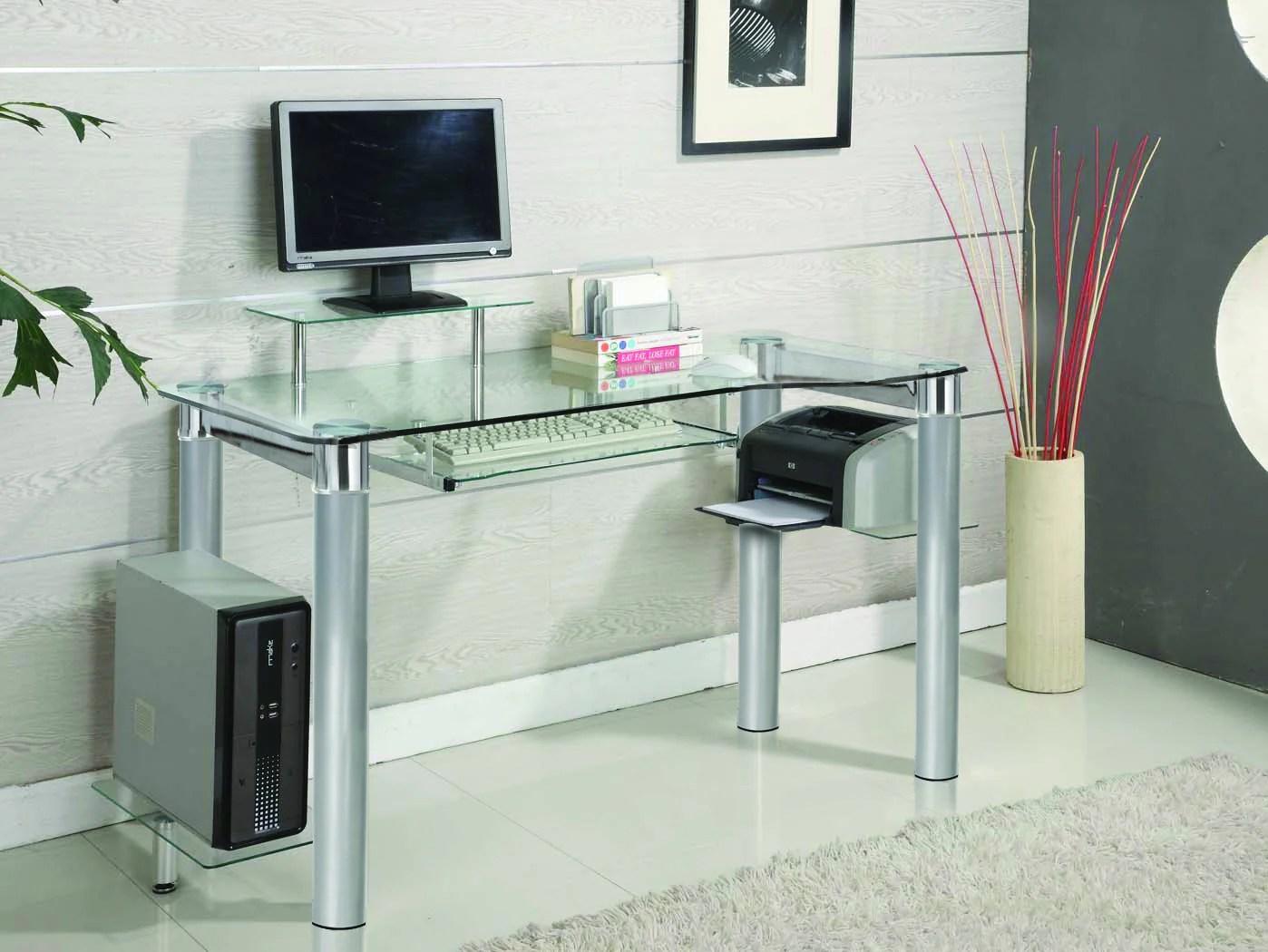 Chrome  Clear Glass Modern Executive Office Desk