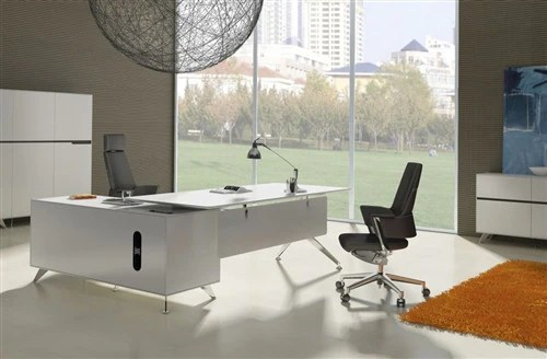 Modern White Lacquer Lshaped Executive Desk with