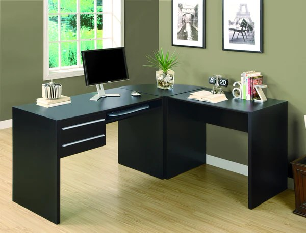 Modern Cappuccino LShaped Desk with Two Drawers