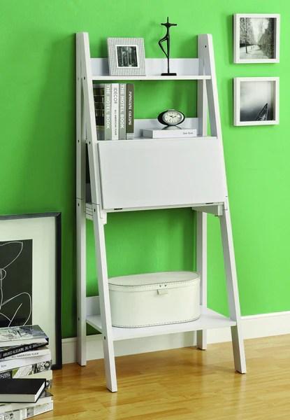 Modern White Ladder Desk  Bookcase Combination with Flip Down Desk  ComputerDeskcom
