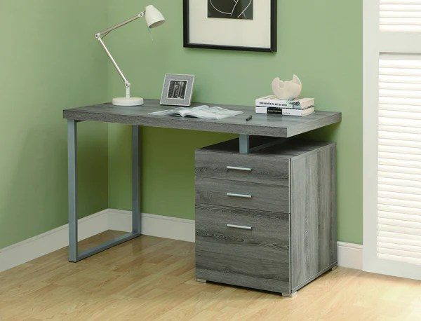 48 Single Pedestal Modern Dark Taupe Reclaimed Desk with
