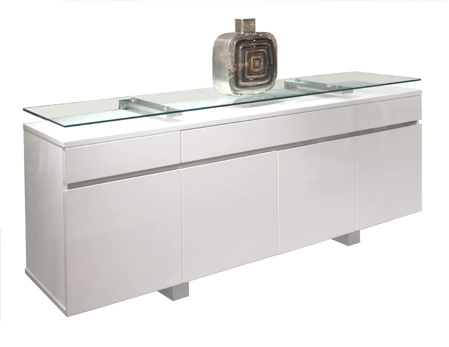 Modern White Lacquer Credenza with Glass Top Shelf
