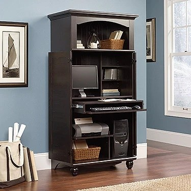 Contemporary Computer Armoire In Antique Painted Finish