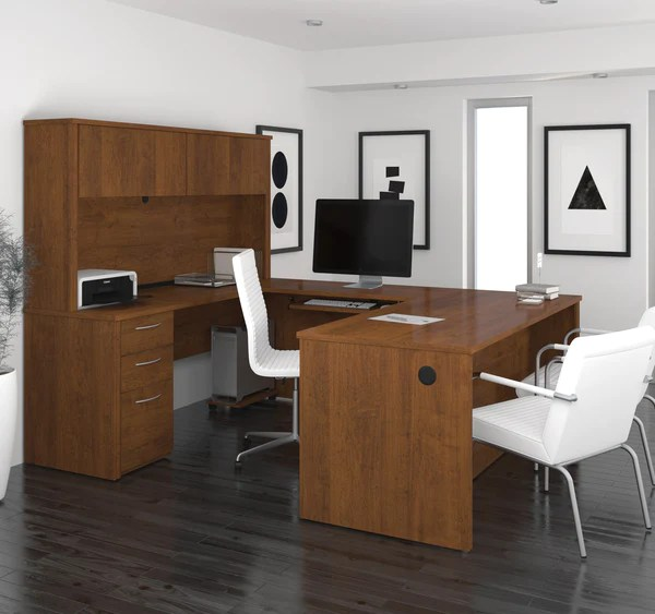 Modern Ushaped Premium Office Desk with Hutch in Tuscany
