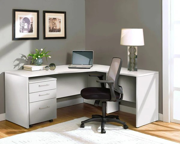 Modern Lshaped Desk with Mobile File in White