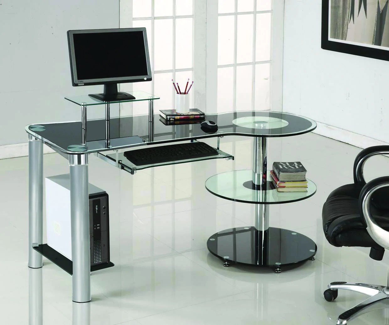 Sleek Modern Black Glass  Chrome Executive Desk