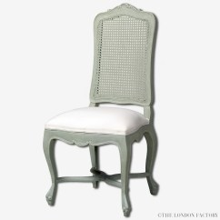 Country French Chairs Upholstered White Material Dining Hyde Seat Cane Back Chair  The