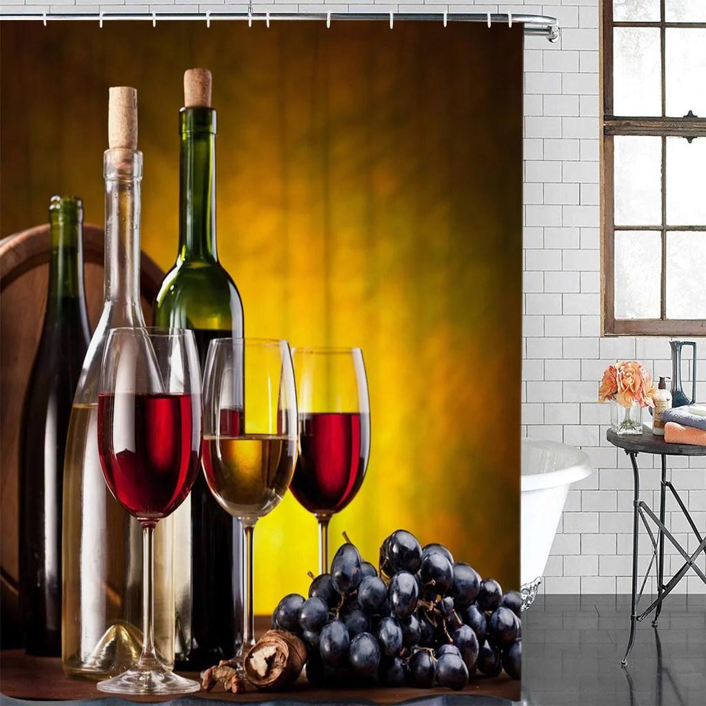 wine glass shower curtain shower
