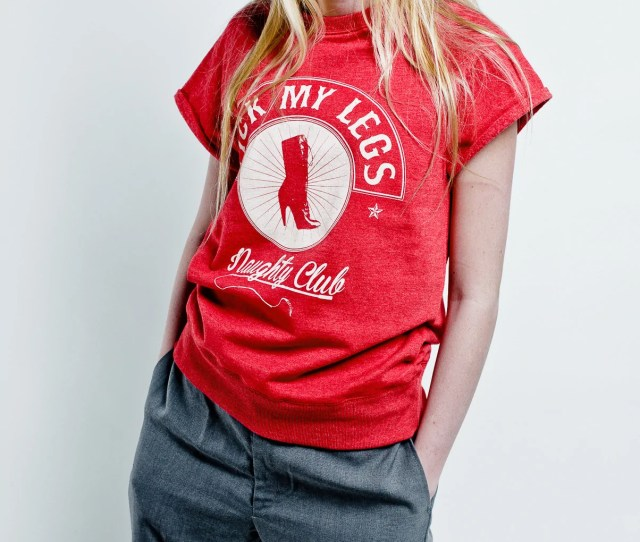 Lick My Legs Red Short Sleeves Sweatshirt White Logo On Front