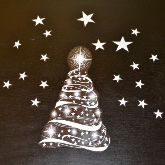 Christmas Tree Stars Window Clings for Christmas window
