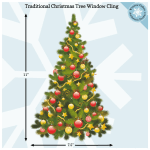 Traditional Full Color Christmas Tree Window Cling Window Flakes