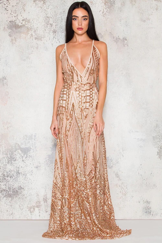 Medley Gold Maxi Dress Love Storey Boutique